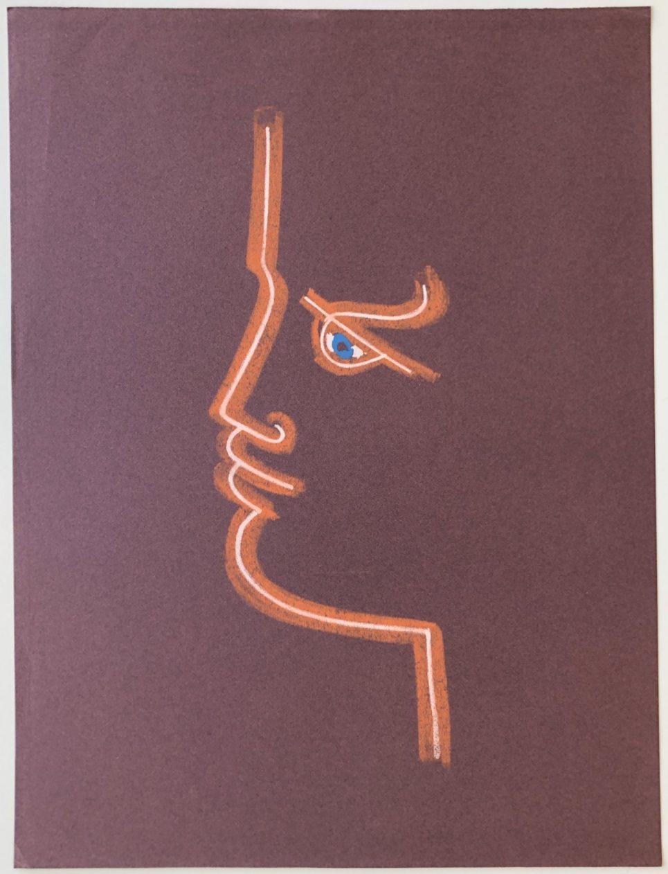 Jean Cocteau - Profile in Burgundy