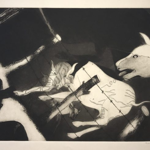 Francisco Toledo - Man and Cows with Barbed Wire Fence