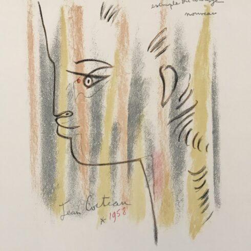 Jean Cocteau - Profile in Yellow, Pink, and Green